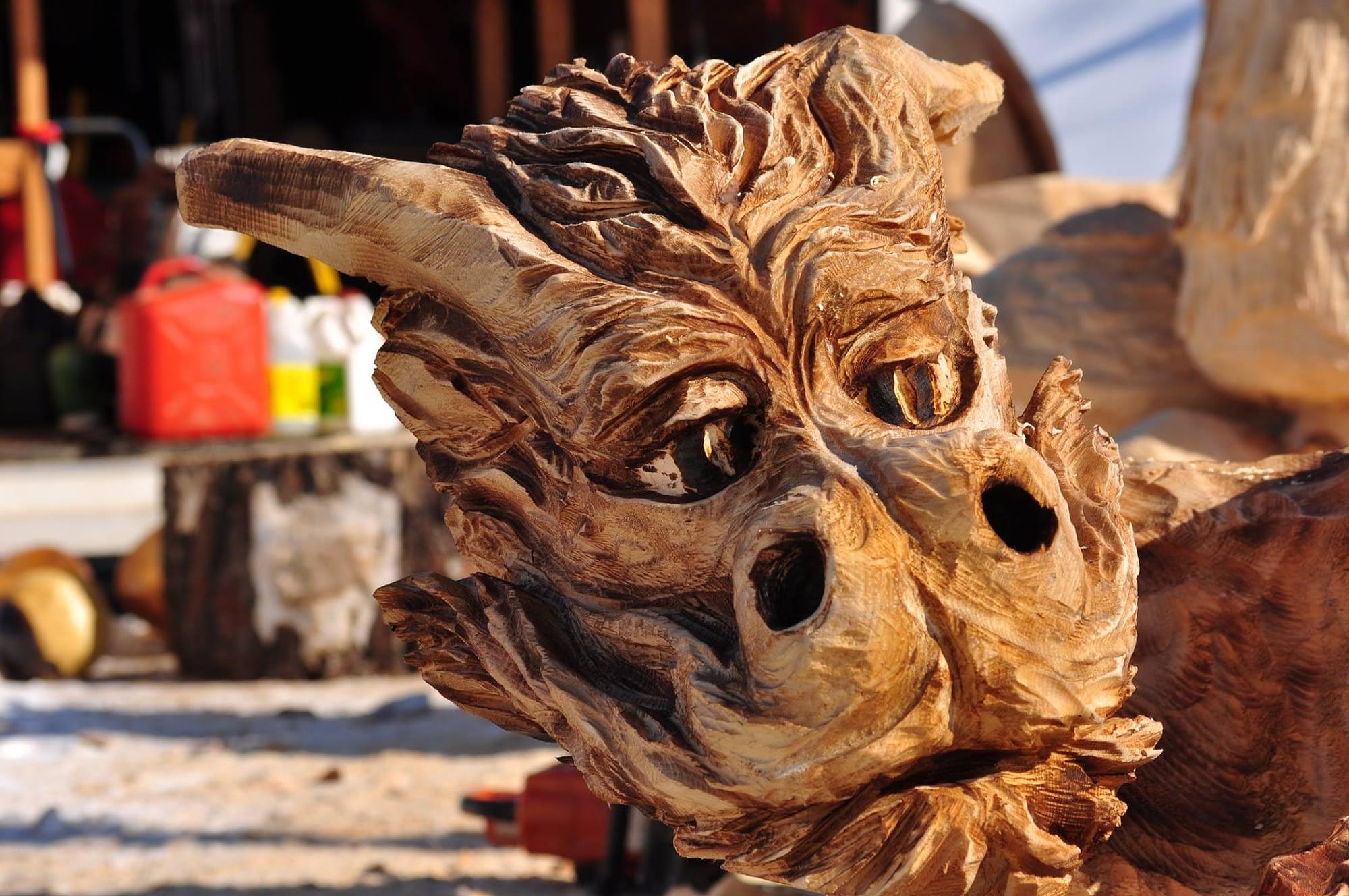 Carving, Dragon, Bench