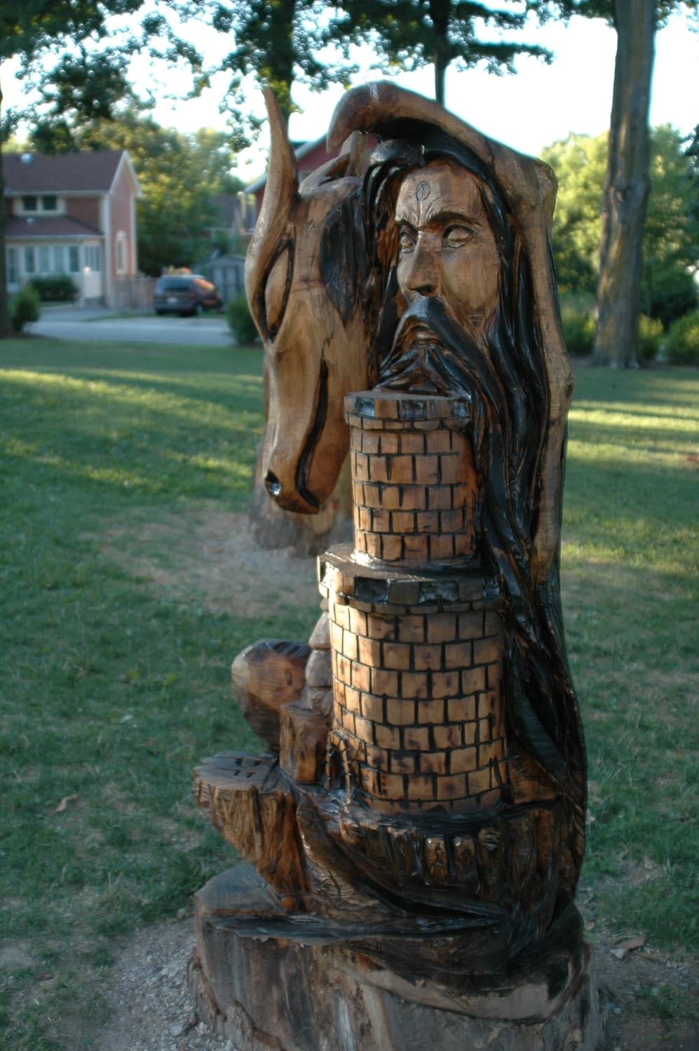 Carving, Dragon, Tower