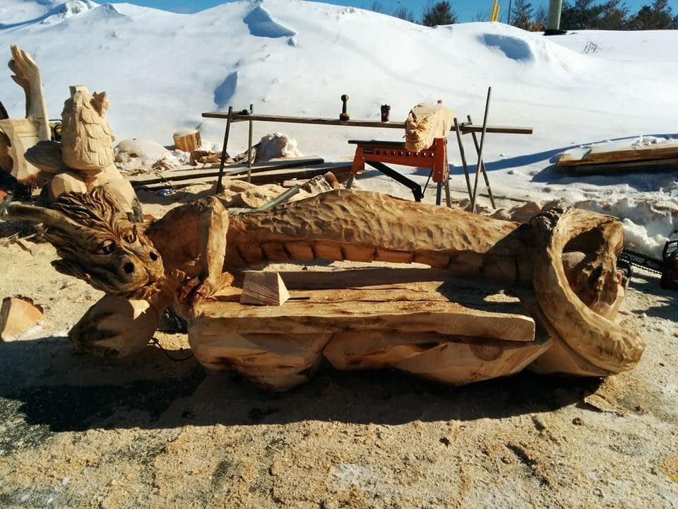 Woodwork, Bench, Dragon